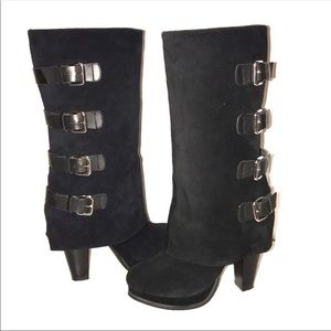 ⭐️Report Tall Black Monroe Silver Buckle Boots